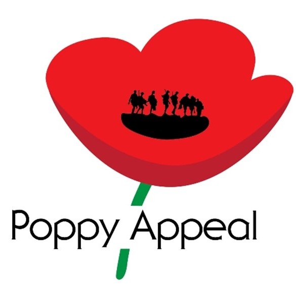 A Remembrance Day Poppy Appeal logo. An illustrated red poppy with green stalk. The black seeds are represented by a silhouette of First World War soldiers. The words Poppy Appeal appear across the stalk.
